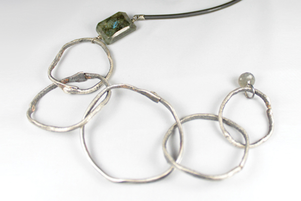 hammered & melted rings with faceted labradorite