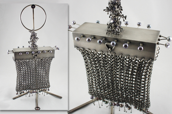 rectangle silver chain mail purse with spikes & blue pearls